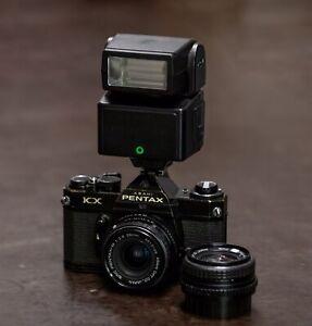 Pentax KX SLR Schwanz + 28mm F2.8 + 50mm F1.7 +  AF280T (Blitz)