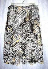 Women's Chico's Boho Hippie Brown/ Ivory Floral Print Pintuck Skirt SZ 2 Large