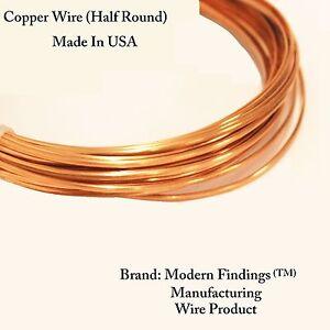 14 Ga HALF ROUND Copper Wire (Dead Soft) choose Length, 99.9% Pure Copper
