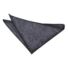DQT Woven Floral Paisley Charcoal Grey Formal Handkerchief Hanky Pocket Square