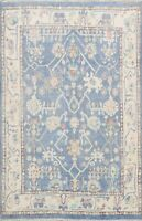 Vegetable Dye Blue/ Ivory Oushak Turkish Hand-knotted Area Rug Wool Carpet 5'x6'