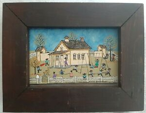"Original Signed Dolores Hackenberger Oil Painting on Canvas ""School Days"""