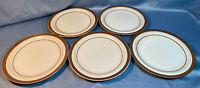 5 Sierra Stoneware Dinner Plates Brown Stripe Japan Simplicity Oven To Table
