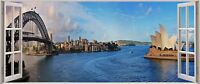 Huge 3D Panoramic Sydney Stich 2 Window View Wall Stickers Mural 314