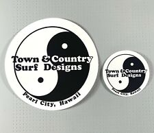 """T&C Town & Country Surf Designs Sticker 5"""" and 2.5"""" Black/White 2 stickers sk8"""