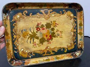 Vintage Hand Painted Floral Metal Serving Tea Tray