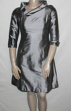 NEW B Michael America Red Collection SIZE 12 Silk Dress 3/4 Sleeve SILVER