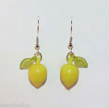 Lemon Earrings Silver Dangle Fruit Kitsch Cute Rockabilly Retro Carmen Miranda