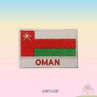 Oman National Flag With Name Embroidered Iron On Patch Sew On Badge Applique