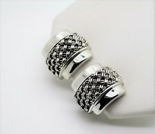 Cable Twist stud Clip Fashion Earring A002 Simply Unique Designer Style Silver