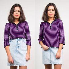 3/4 Sleeve Striped Regular Size Basic T-Shirts for Women