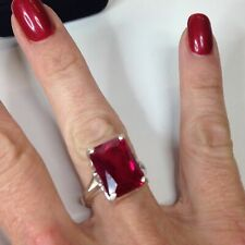 2ct Emerald Cut Pink Ruby Women Solitaire Engagement Ring 14ct White Gold Over