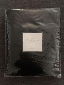 Restoration Hardware Velvet Chevron Stitch Sham, Black- King 20 X 34in