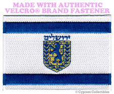 JERUSALEM FLAG PATCH ISRAEL CITY EMBROIDERED SOUVENIR w/ VELCRO® Brand Fastener