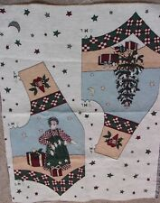 """Primitive Raggedy Doll Christmas Tapestry Panel Fabric Vest Panel 28"""" L x 34""""H"""