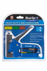 BlueSpot Heavy Duty 3-Way Staple Gun + 600 Staples & Nails