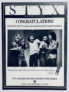 STYX vintage 1981 POSTER ADVERT PARADISE THEATRE