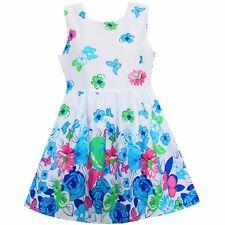 NWT Girls Dress Blue Flower Butterfly Cotton  Summer Party Princess Kids Clothes