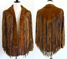 NOORA Women Fashion Coat Cow lady Suede Leather  Western Jacket Fringes BS-106