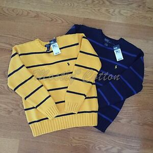 POLO RALPH LAUREN boys M L 12-14 16-18 SWEATERS CREWNECK PULLOVERS Striped NWT