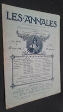 REVUE ILLUSTREE LES ANNALES 13 OCTOBRE 1907 N°1268 POLITIQUES ET LITTERAIRES