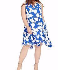 Julia Jordan Floral Print A Line Dress In Asymmetrical Hem Size 24W