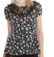 GOTHIC STEAMPUNK VICTORIAN LACE SKELANIMALS CELESTIAL PEPLUM TOP MD NWT