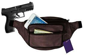 Black Leather Concealed Carry Weapon Fanny Pack Pistol Handgun Waist Bag CCW