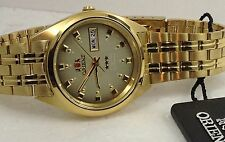 New Orient Men's Automatic  watch Brown Dial Gold Tone Box Warranty