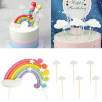Colorful Rainbow Cloud Cake Topper Birthday Wedding Party Cupcake Decoration