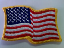 Embroidered Patch - Waving American Flag - Iron On - Gold Border - USA US U.S.
