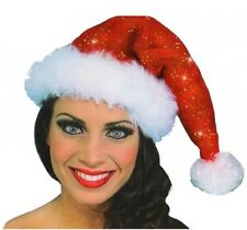Santa Sparkle Hat- Red Santa Costume Sparkle Hat with White Trim