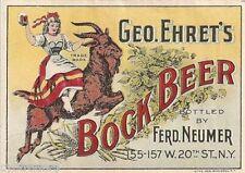 Geo. Ehret's  Bock  Beer Label  Refrigerator / Tool Box Magnet