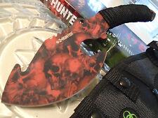 "Z-Hunter Red Skull Camo Ulu Combat Bowie Axe Knife 4mm Full Tang 10 3/4"" 038RD"