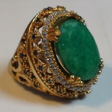 BIG! 10.40 ct GGL CERTIFICATE NATURAL UNHEATED EMERALD RING 925 SILVER.SIZE 7.25