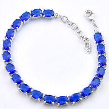 Woman Water Drop Shaped Dark Blue Topaz Gemstone Silver Charming Bracelet 8 Inch