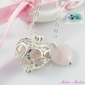 Silver Plate Gemstone Heart Cage Charm Pendant Necklace 44cm Select Gemstone