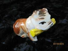 "Bull Dog w News in Mouth Porcelain Dog Figurine 3""x2.5"""