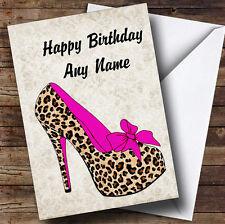 Leopard Print Stiletto Pink Personalised Birthday Greetings Card