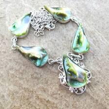 "Handmade Natural Biwa Pearl 925 Sterling Silver Necklace 23"" #N01796"
