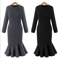 Plus Size Women Winter Long Sleeve Knitwear Bodycon Knitted Sweater Jumper Dress
