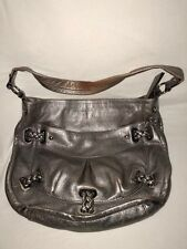B. Makowsky Pewter Metallic Leather Single Strap Shoulder Bag Braided Accent