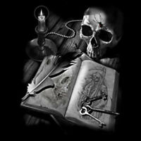 Midnight Reading Skull Book Grim Reaper Candle Keys Gothic T-Shirt Tee