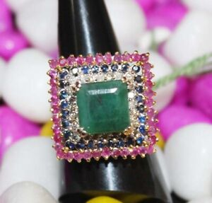 0.50ct Natural Round Diamond 14K White Gold Emerald Ruby Sapphire Cocktail Ring