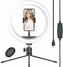 10 Selfie Ring Light with Tripod Stand Phone Holder Dimmable Desk LED Makeup