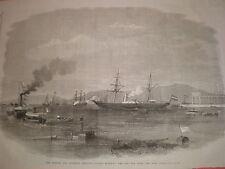 Francés y austríaco Imperial Yates introducir Mar Rojo de canal de Suez 1869 impresión Antiguo