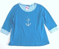 FRESH PRODUCE Medium Marina Blue ANCHOR French Sunset Sweatshirt Top NWT New M