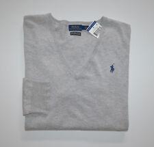 NWT Women's Polo Ralph Lauren V-Neck Sweater, Gray Pima Cotton XL, X-Large