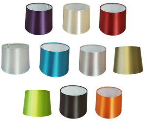 """Empire Drum Pendant Ceiling Table Lamp Shade Bold Colours Satin  8"""" 10"""" 12"""" 16"""""""