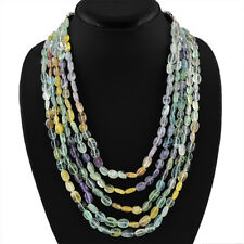 5 LINE 760.00 CTS NATURAL UNTREATED RICH MULTICOLOR FLOURITE BEADS NECKLACE